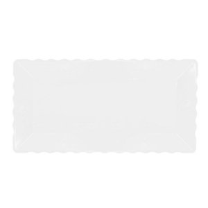 Bandeja Retangular Plástico Branco - 16x30cm - 1 Un - Rizzo