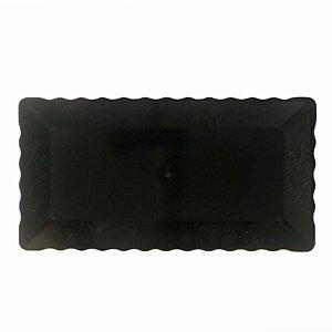 Bandeja Retangular Plástico Liso Preto - 16x30cm - 1 Un - Rizzo