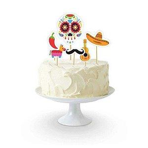Topo de Bolo Festa Mexicana Dia Dos Mortos - 06 Unidade - Junco - Rizzo