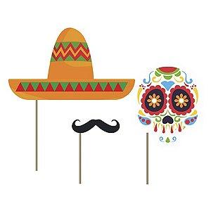 Kit Fantasia Festa Mexicana Dia Dos Mortos - 9 Unidade - Junco - Rizzo Embalagens
