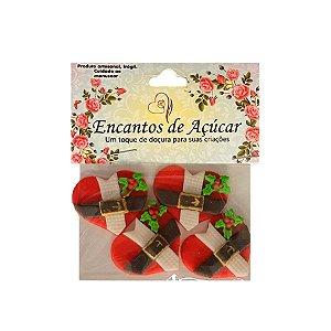 """Confeitos Comestíveis """"Coração de Papai Noel e Flor"""" - 01 Unidade - Rizzo Embalagens"""