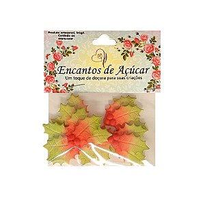 """Confeitos Comestíveis """"Folha de Natal Poinsettia Degrade Euphorbia"""" - 01 Unidade - Rizzo"""