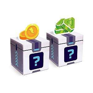 Caixa Quadrada Pop Up Festa PK XD Gemas e Moedas 10 Unidades - Cromus - Rizzo Embalagens