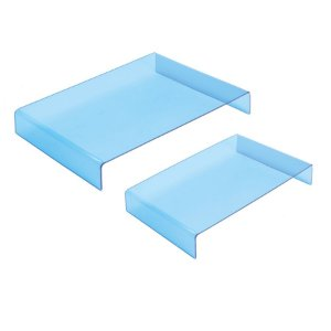 Suporte Para Doces Acrílico Azul Retangular Pequeno e Grande - 2 Unidades - Cromus - Rizzo Embalagens