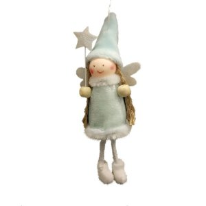 Enfeite para Pendurar Anjo Azul Estrela - 01 unidade - Cromus Natal - Rizzo Embalagens