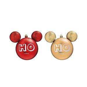 Kit Bolas Mickey HoHoHo Vermelho e Dourado 6cm - 06 unidades Natal Disney - Cromus - Rizzo Embalagens