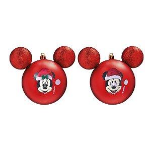 Kit Bolas Mickey e Minnie Vermelho 8cm - 04 unidades Natal Disney - Cromus - Rizzo Embalagens