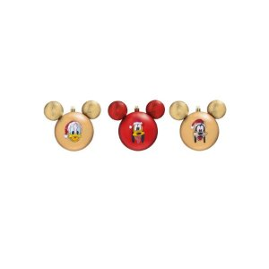Kit Bolas Pateta, Pluto e Donald Vermelho e Dourado 6cm - 06 unidades Natal Disney - Cromus - Rizzo Embalagens