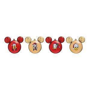 Kit Bolas Pateta, Pluto e Donald Vermelho e Dourado 8cm - 04 unidades Natal Disney - Cromus - Rizzo Embalagens
