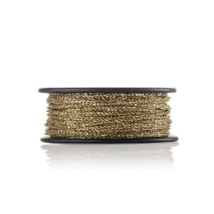 Cordão Elástico Metalizado Dourado  -1,5MM - 25 metros - Firal - Rizzo Embalagens