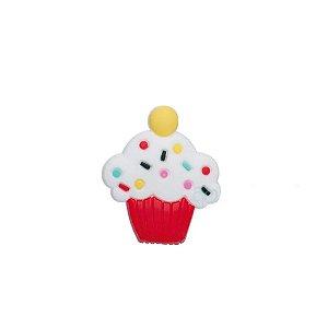 Aplique Cupcake Vermelho Silicone - 3,5cm - 4 Un - Artegift - Rizzo