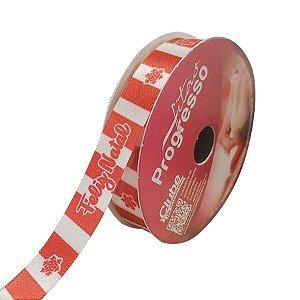 Fita de Cetim ECF 003TR 15mm -10m Cor 027 Feliz Natal Listrado - 01 unidade - Progresso - Rizzo Embalagens