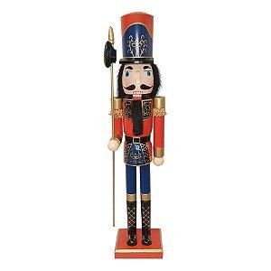 Boneco Soldado Quebra Nozes de Madeira - Azul - EN039-03 - 60 cm - 1 unidade - Global Master - Rizzo Embalagens