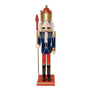 Boneco Soldado Quebra Nozes de Madeira - Azul e Dourado - EN039-12 - 60 cm - 1 unidade - Global Master - Rizzo Embalagens