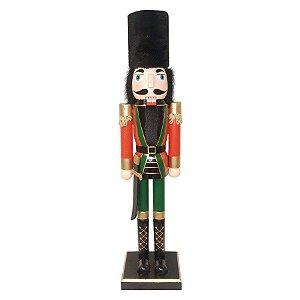 Boneco Soldado Quebra Nozes de Madeira - Vermelho e Verde - EN039-25 - 60 cm - 1 unidade - Global Master - Rizzo Embalagens