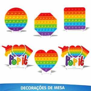 Kit Enfeite de Mesa Festa Pop It - 06pçs - 01 Unidade - Piffer - Rizzo Embalagens