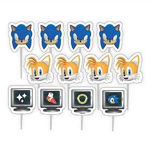 Palitos Decoração Impresso Festa Sonic - 12pçs - 01 Unidade - Piffer - Rizzo Embalagens