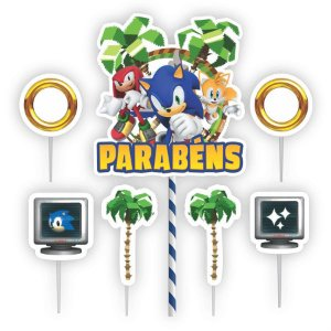 Toppers para Bolo Festa Sonic - 07pçs - 01 Unidade - Piffer - Rizzo Embalagens