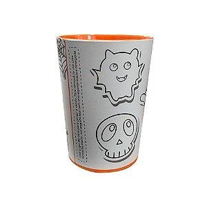 Copo para Colorir Halloween - Color Cup - Laranja - 01 unidade - Rizzo Embalagens