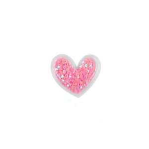 Aplique Coração Incolor Pink - 5cm - 2 Un - Artegift - Rizzo