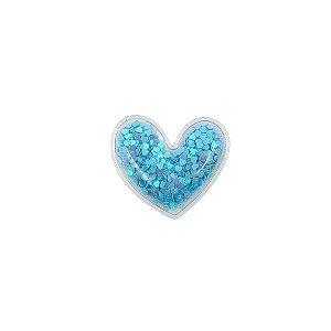 Aplique Coração Incolor Azul - 5cm - 2 Un - Artegift - Rizzo