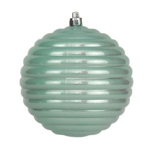 Bola de Natal Ondas VDY Cor Verde Mint 08cm 06 Unidades - Cromus - Rizzo Embalagens