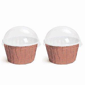 Kit Forminha Cupcake com Tampa Cor Xadrez Vermelho 20 Unidades Cromus Rizzo
