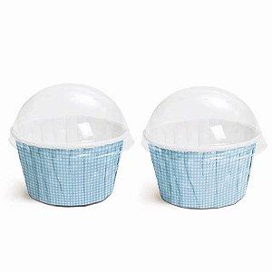 Kit Forminha Cupcake com Tampa Cor Xadrez Azul 20 Unidades Cromus Rizzo Embalagens