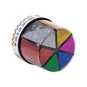 Glitter Shaker Colors - Cores Variadas - Pote de 60g com 6 Cores - 01 Unidade - BRW - Rizzo