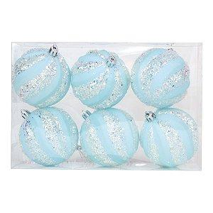 Kit Bola Listra Lantejoula - Trend Rainbow - Candy- Azul Claro- 8cm - 6unidades - Cromus Natal - Rizzo Embalagens