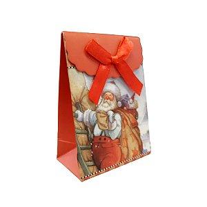 Mini Sacola Lembrancinha Vermelha Natal Papai Noel - 10cm - 1 UN - Rizzo