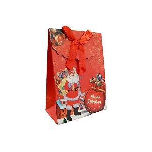 Mini Sacola Lembrancinha Vermelha Presente Papai Noel - 10cm - 1 UN - Rizzo