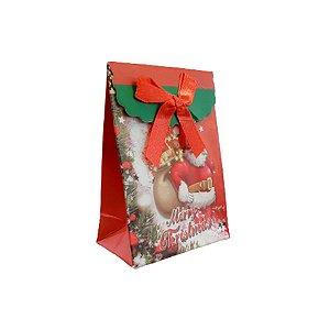 Mini Sacola Lembrancinha Vermelha Merry Christmas - 10cm - 1 UN - Rizzo