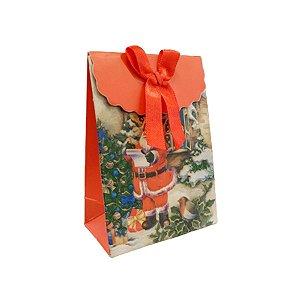 Mini Sacola Lembrancinha Vermelha Papai Noel Lista - 10cm - 1 UN - Rizzo
