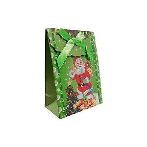 Mini Sacola Lembrancinha Verde Esqui Papai Noel - 10cm - 1 UN - Rizzo