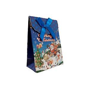 Mini Sacola Lembrancinha Azul Merry Christmas - 10cm - 1 UN - Rizzo