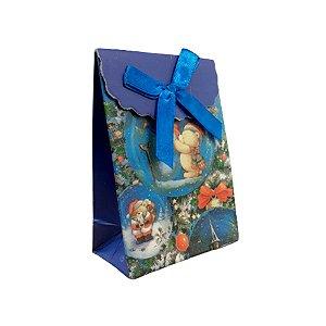 Mini Sacola Lembrancinha Azul Urso Noel - 10cm - 1 UN - Rizzo