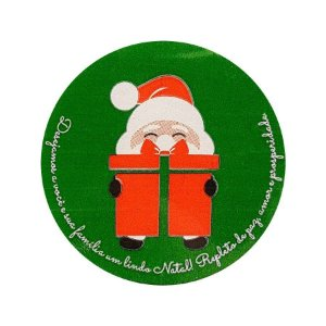 Etiqueta Adesiva Noel com Presente - Verde - com 60 un. Rizzo Embalagens