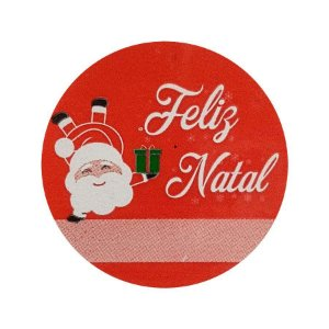 Etiqueta Adesiva Feliz Natal Noel - Vermelho - com 60 un. Rizzo Embalagens