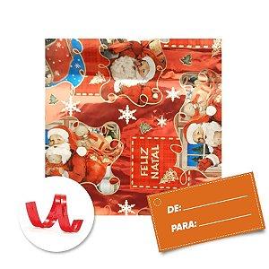 Kit Saco para Presente + Fecho de Natal Feliz Natal Tradicional 20cm x 29cm 01 Unidade Cromus Rizzo Embalagens