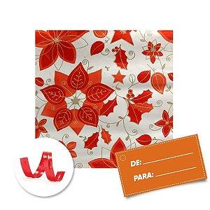 Kit Saco para Presente + Fecho de Natal + Poinséttia Vermelha  20cm x 29cm 01 Unidade Cromus Rizzo Embalagens