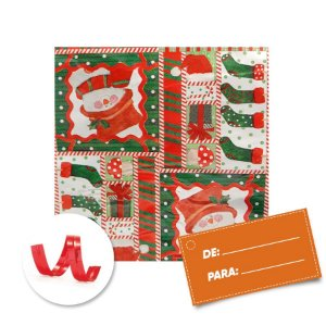 Kit Saco para Presente + Fecho de Natal + Papai Noel e Arvore 20cm x 29cm 01 Unidade Cromus Rizzo Embalagens