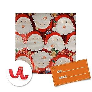 Kit Saco para Presente + Fecho de Natal + Papai Noel Fundo Vermelho 20cm x 29cm 01 Unidade Cromus Rizzo Embalagens