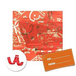 Kit Saco para Presente + Fecho de Natal + Presente Vermelho 20cm x 29cm 01 Unidade Cromus Rizzo Embalagens