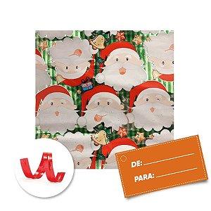 Kit Saco para Presente + Fecho de Natal + Papai Noel Fundo Verde 20cm x 29cm 01 Unidade Cromus Rizzo Embalagens