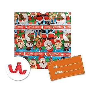Kit Saco para Presente + Fecho de Natal + Feliz Natal Papai Noel e Rena 20cm x 29cm 01 Unidade Cromus Rizzo Embalagens
