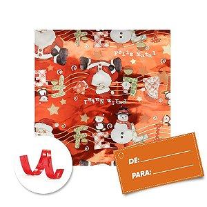 Kit Saco para Presente + Fecho de Natal + Feliz Natal Vermelho 20cm x 29cm 01 Unidade Cromus Rizzo Embalagens