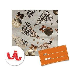 Kit Saco para Presente + Fecho de Natal + Cartão Bolas e Estrelas Douradas 20cm x 29cm 01 Unidade Cromus Rizzo Embalagens