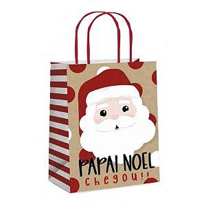 Sacola de Papel Kraft - Noelito- 10 unidades - Cromus Natal - Rizzo Embalagens