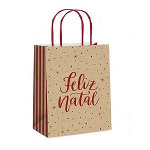 Sacola de Papel- E Natal- Kraft/Vermelho - 10 unidades - Cromus Natal - Rizzo Embalagens